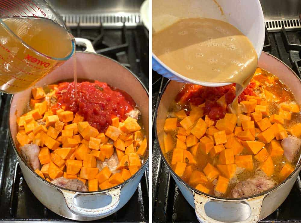 how to make peanut stew, an oval Dutch oven with sweet potato chunks and crushed tomatoes and chicken broth being poured in, a second photo of the same pot with peanut butter broth being poured in.
