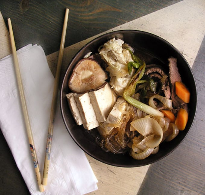 Sukiyaki: Japanese hot pot with beef, tofu, rice noodles ...