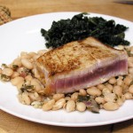 recipe for Peruvian Style White Beans with Marinated Seared Tuna - Panning The Globe