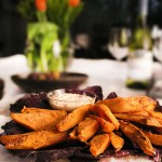 Chili and Brown Sugar Sweet Potato Wedges with Chipotle Aioli Dipping Sauce