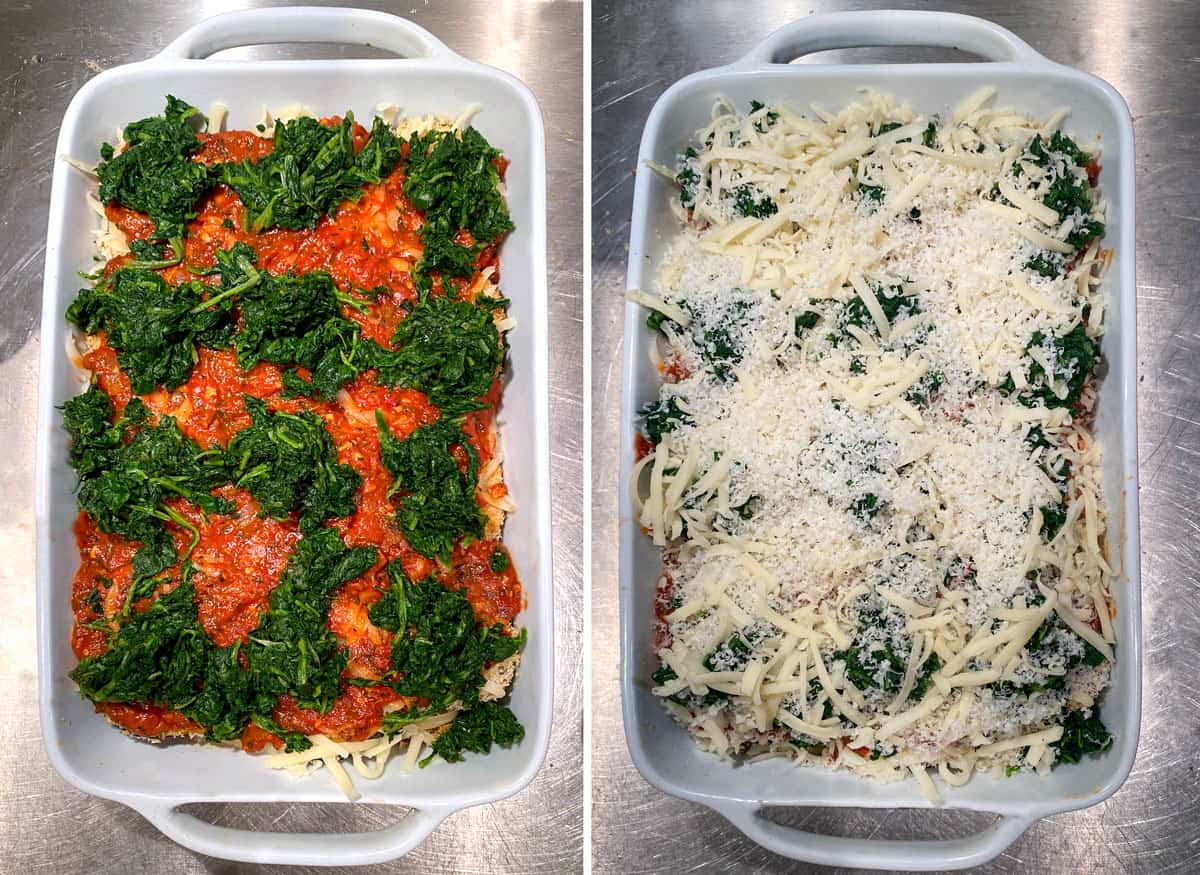 tomato sauce and blobs of chopped spinach in a white rectangular casserole dish, the next photo shows the same casserole with a layer of shredded cheese on top