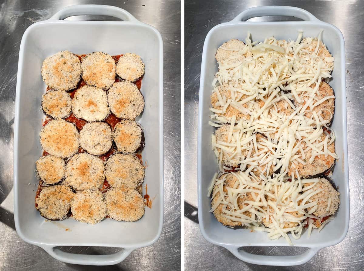 breaded and baked rounds of eggplant lined up in the bottom of a white casserole, then the next photo shows them covered with shredded mozzarella cheese