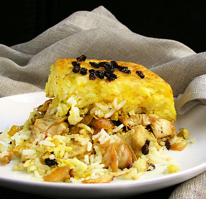 Persian Layered Chicken And Rice With Yogurt Tachin Joojeh