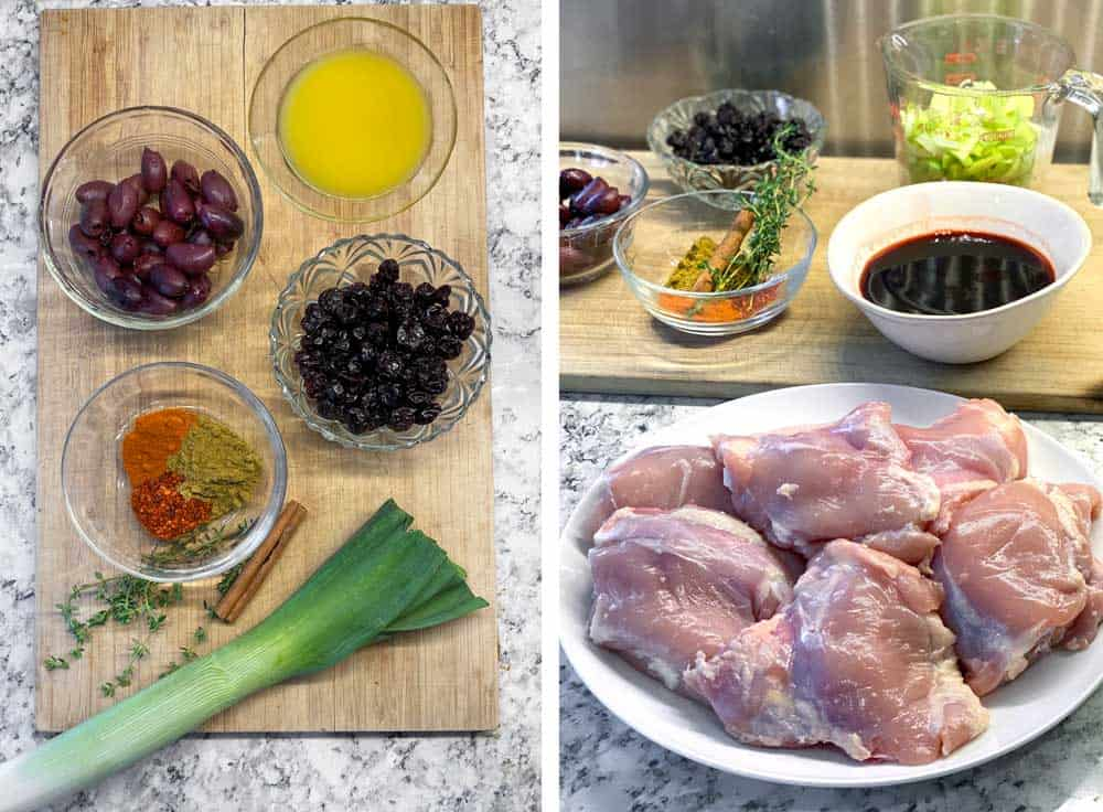 Ingredients for slow cooker chicken thighs: skinless chicken thighs on a plate, little bowls of dried cherries, spices, kalamata olives and orange juice