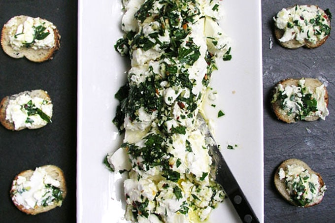 Goat Cheese Dressed for a Party - the easiest most delicious appetizer recipe | Panning The Globe