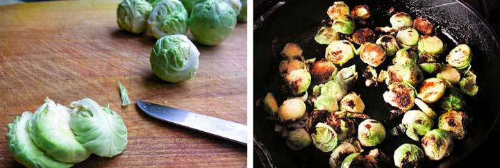 how to slice Brussels sprouts for sautéing