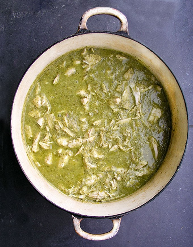 Guatemalan Green Chicken Stew recipe - Tender chicken simmered in a tomatillo cilantro sauce, thickened with toasted ground pumpkin seeds and sesame seeds. A delicious festive healthy soup/stew that also low fat, gluten free and paleo friendly.