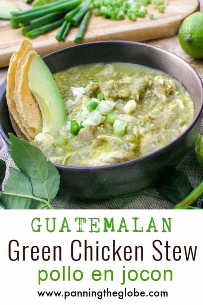 green chicken stew in a black bowl with garnishes of avocado, corn tortillas and chopped scallions