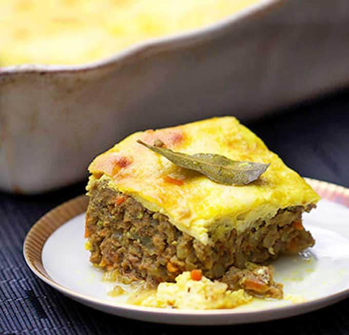 a slice of Bobotie, south african meatloaf
