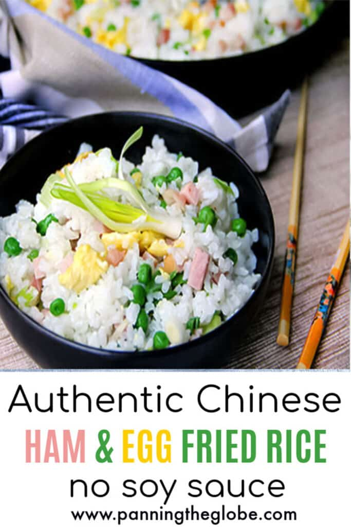 pinterest pin: ham and egg fried rice in a black bowl with a set of chopsticks next to it