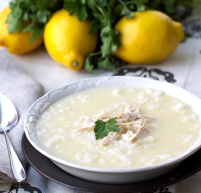 Greek Lemon Rice Chicken Soup: comforting, lemon, creamy with no cream!