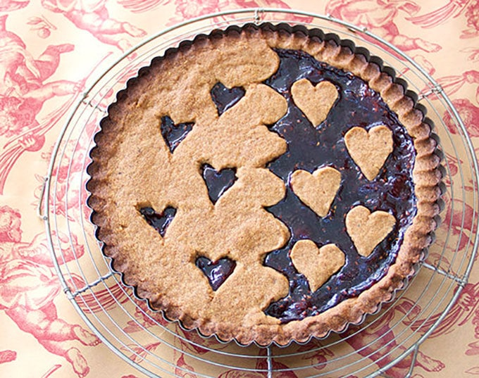 A delicious Austrian Linzertorte with a Valentine's Day theme - Panning The Globe