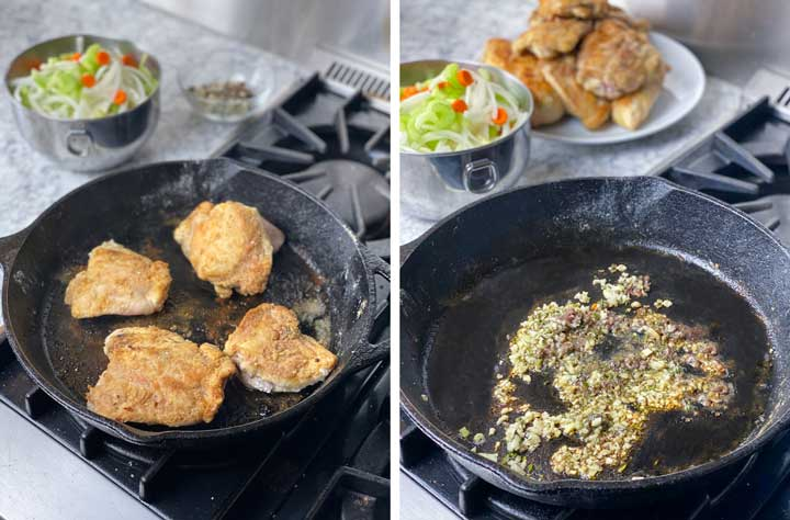 shows how to get chicken golden brown by sautéing it in a skillet, then removing it to sauté armotatics