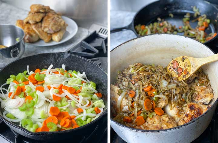 shows how to sauté carrots onions and celery for smothered chicken. Then shows the assembly of the dish with the blanket of veggies scooped over the chicken in a Dutch oven.