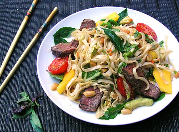 Thai Steak and Noodle Salad - Panning The Globe