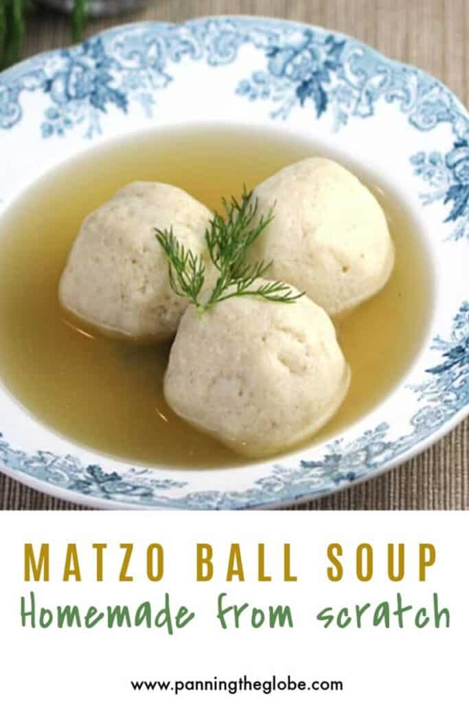 pinterest pin: matzo ball soup