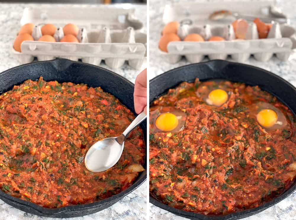 how to make shakshuka: thick tomato sauce in a cast iron skillet with three eggs cracked in, tucked into the sauce.