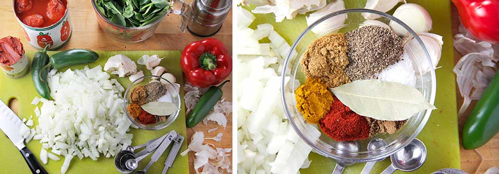ingredients for making shakshuka: onions, bell peppers, jalapeno, spices