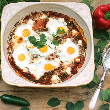 Shakshuka is a delicious Israeli breakfast dish of eggs poached in a thick spicy sauce of onions, peppers and tomatoes. Here's a wonderful shakshuka recipe, shared with me by chef Israeli chef Einat Admony