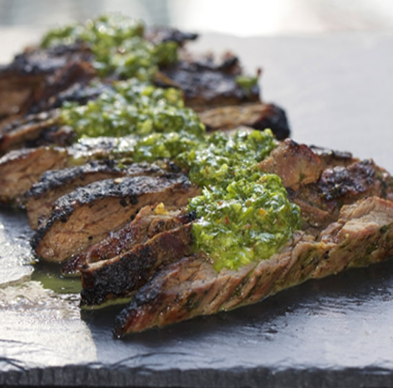 Argentinian chimichurri sauce and grilled skirt steak