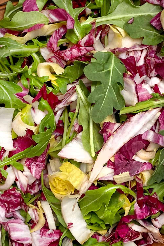 Close up of tricolore salad leaves: Arugula, radicchio and endive