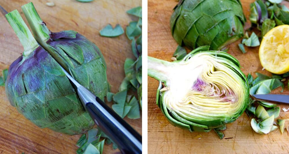 two photos: the first one shows an artichoke being sliced in half through the stem, the second shows the halved artichoke cut-side up, with a halved lemon beside it