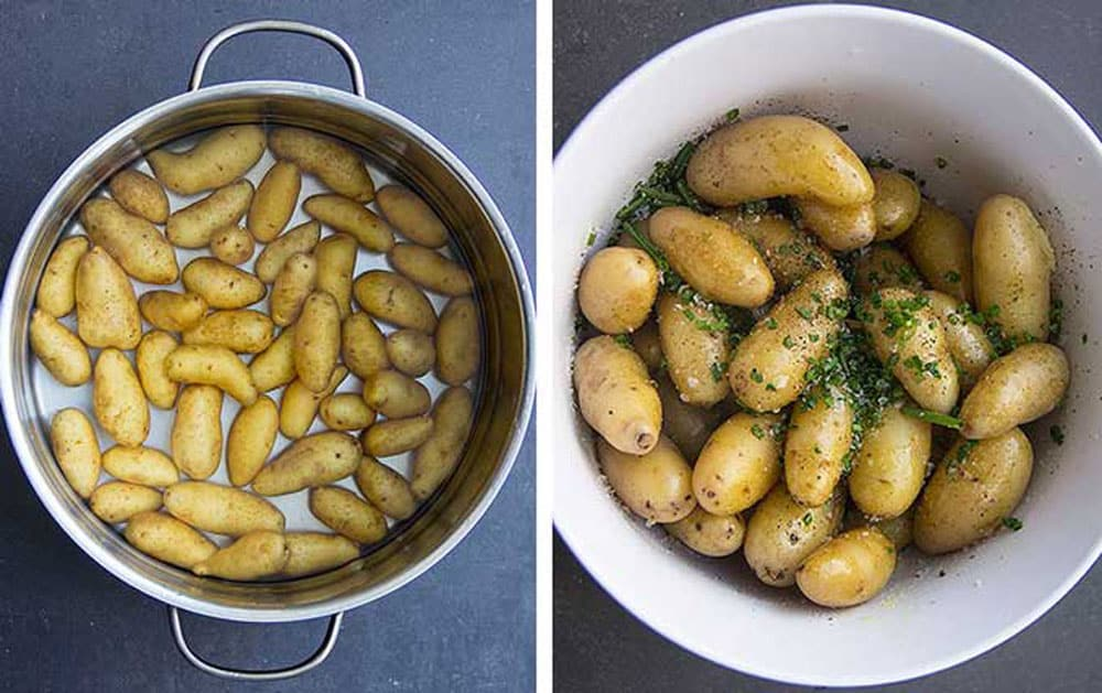 fingerling potatoes being boiled in a pot and then cooked fingerlings in a white bowl sprinkled with chives