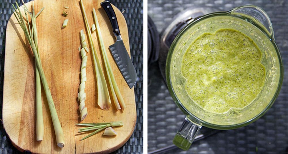 Cutting board with 3 lemongrass stalks, one peeled and sliced, next photos show a pureed green colored marinade in a food processor