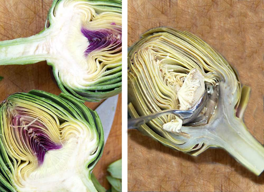 two photos, one showing two halves of a raw artichoke with the cut side up, the second shows half of a steamed artichoke with a spoon scooping out the choke