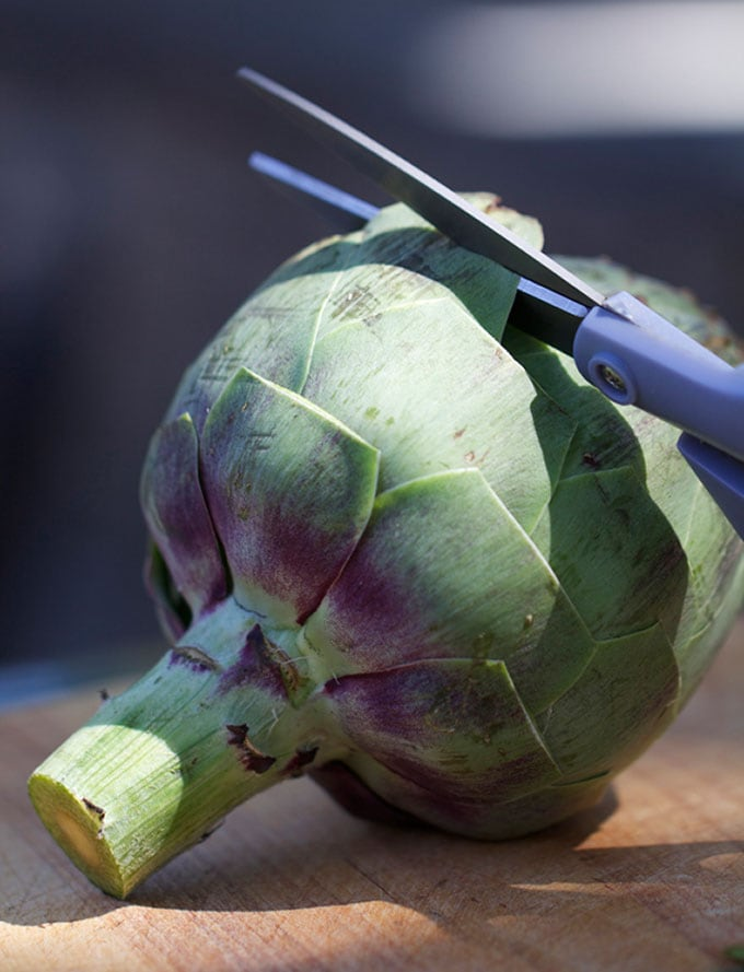 Detailed instructions and photos showing how to trim artichokes, how to snip the tips of the thorny leaves using a scissor