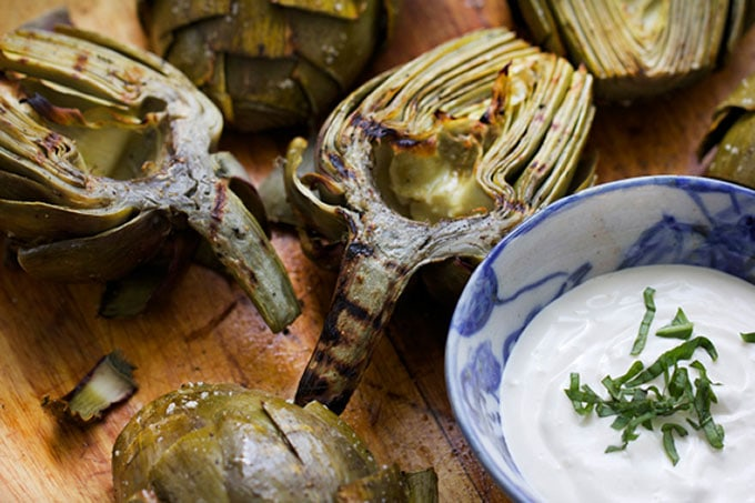 Grilled Artichokes with Lemon Aioli by Panning The Globe
