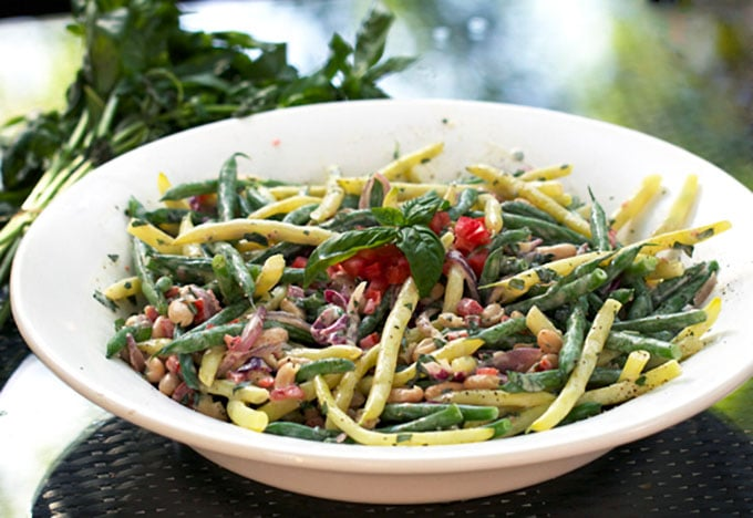 Recipe for Three Bean Salad with Creamy Lemon Dressing - Panning The Globe