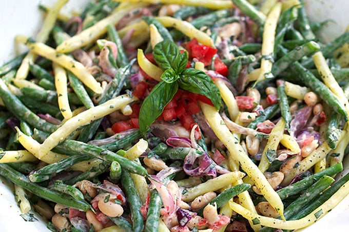 Three Bean Salad with Creamy Lemon Dressing