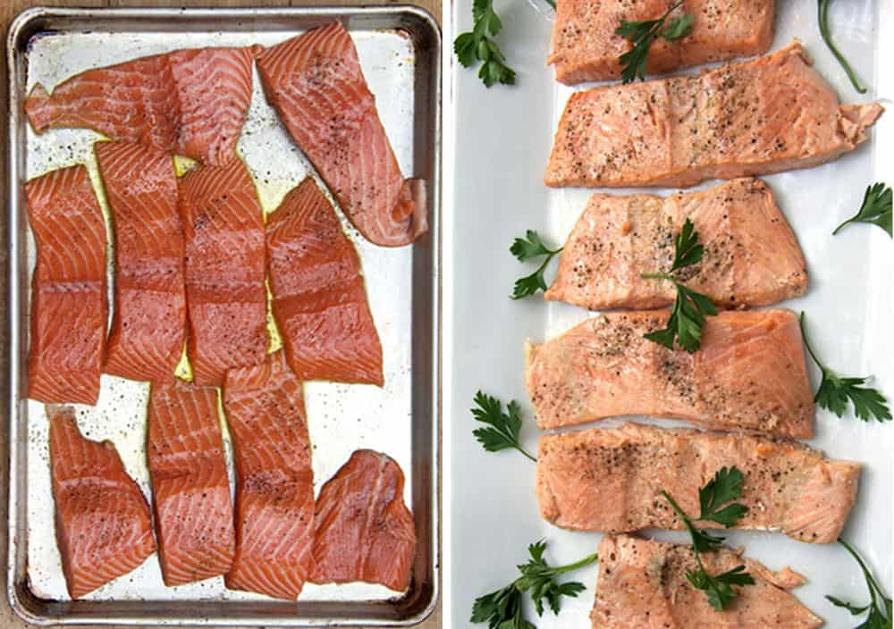 before and after photos of 10 pieces of salmon fillet, first raw on a baking sheet, then cooked on a white platter garnished with sprigs of parsley