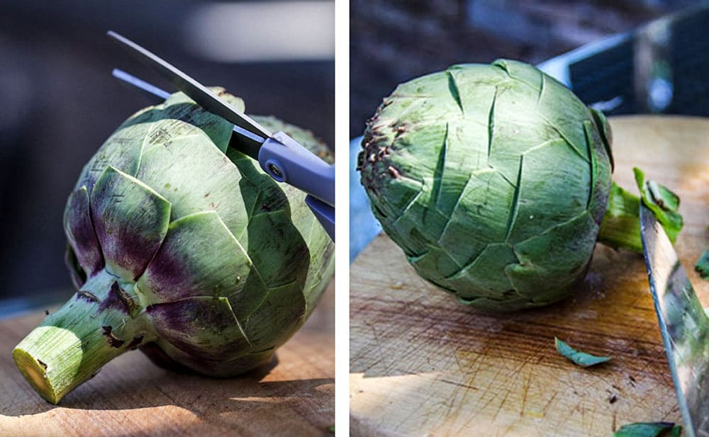 close up showing how to cut the thorny tip off of an artichoke leaf, next photo shows the trimmed artichoke and shows a knife being used to trim the outer layer of the stem