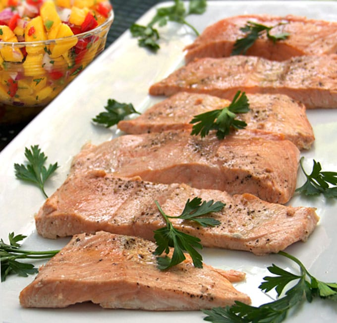 Roasted Salmon with Tropical Salsa - recipe by Panning The Globe