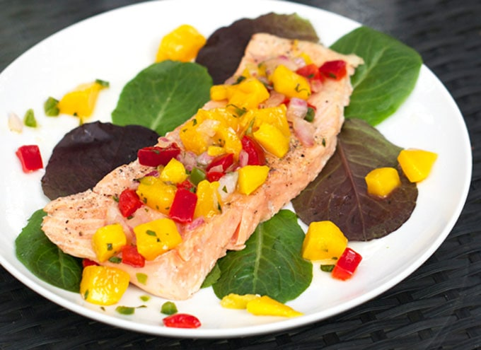 how to make perfect Roasted Salmon with tropical salsa