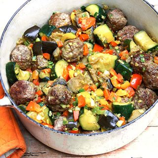 Indian-Style Ratatouille with Lamb Meatballs