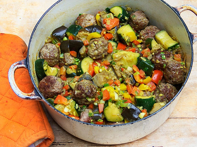 Indian Style Ratatouille with Lamb Meatballs - Panning The Globe