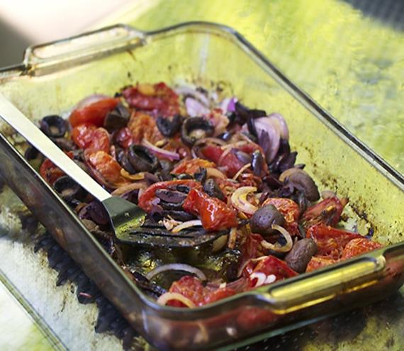 mushroom and tomato brushetta