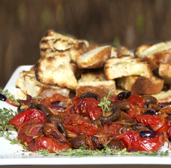 roasted tomato and mushroom platter
