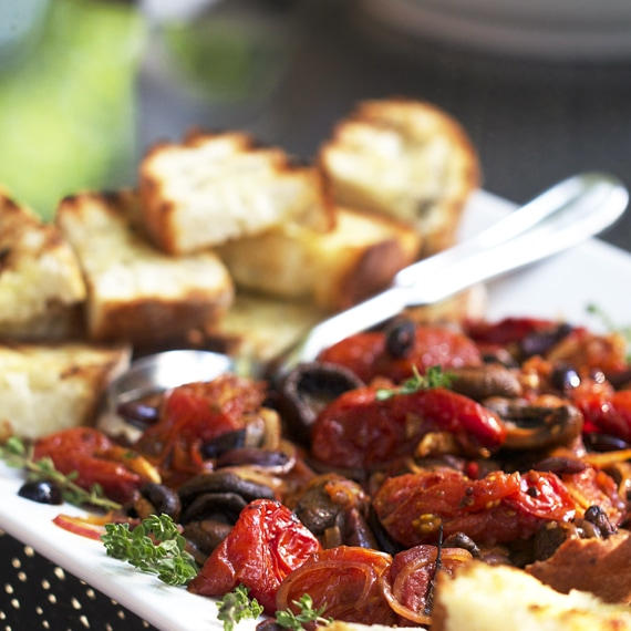 roasted tomato and mushroom bruschetta