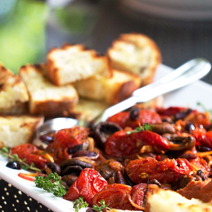 Roasted Tomatoes and Mushrooms with Grilled Bread | Panning The Globe