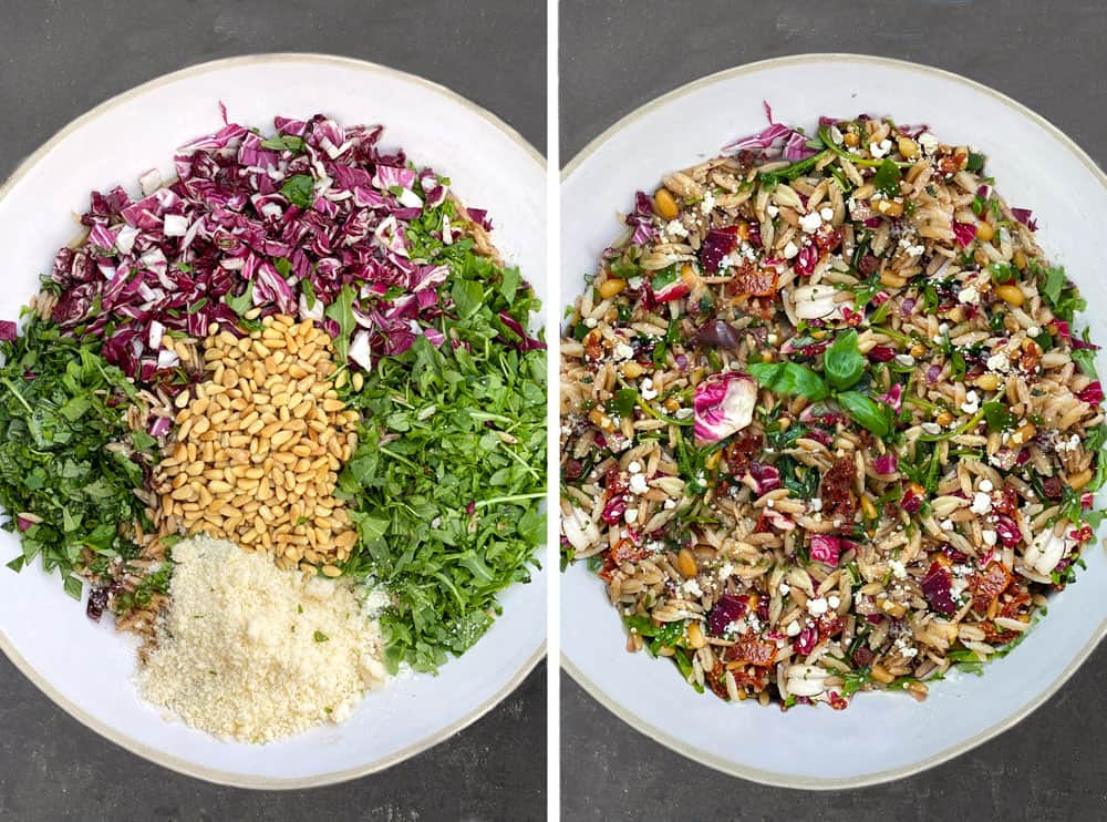 how to make amazing orzo pasta salad, a big bowl of orzo with piles of colorful ingredients on top: arugula, basil, radicchio, parmesan and pine nuts.