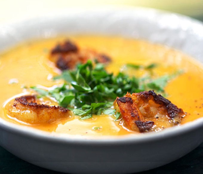 The creamy coconut and sweet potato soup pairs beautifully with zesty spice-crusted shrimp. Delicious and company-worthy. [dairy-free]