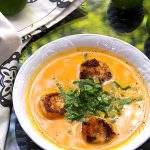 Coconut Sweet Potato Soup with Spicy Shrimp