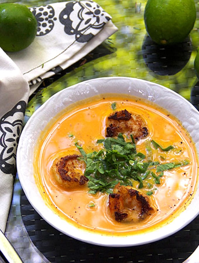 Coconut Sweet Potato Soup with Spicy Shrimp - Panning The ...