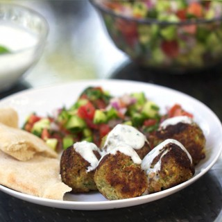 Turkey Falafel Meatballs with Lemon Yogurt Sauce