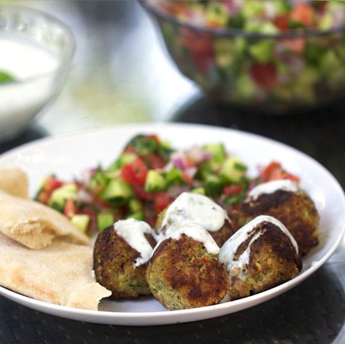 Turkey Falafel Meatballs with Lemon Yogurt Sauce   Panning The Globe