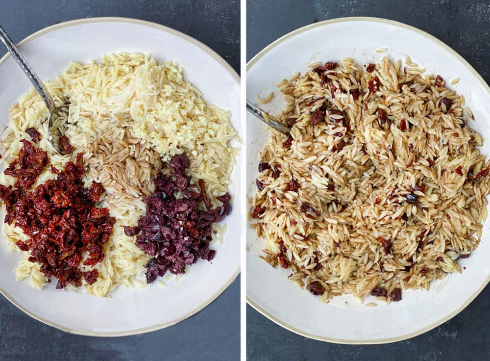 how to make orzo pasta salad, showing the orzo with chopped sun dried tomatoes, chopped olives, and balsamic dressing